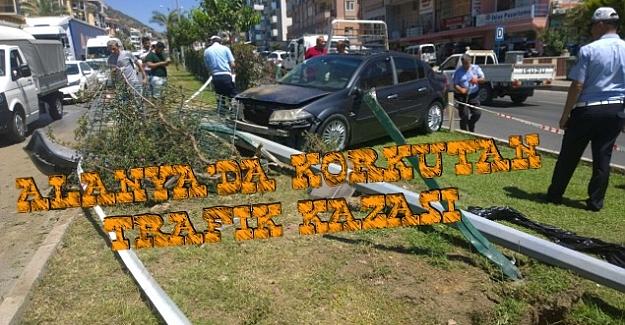 Alanya'da Araç Takla Attı