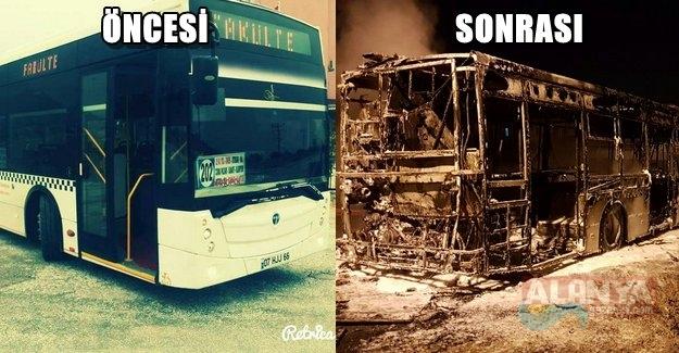 Alanya'da Halk Otobüsü Yandı