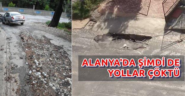 Alanya'da Yollar Çöktü