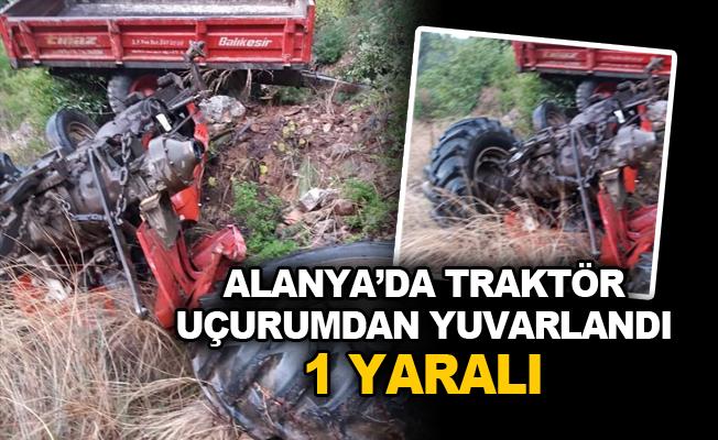 Alanya'da Traktör Uçurumdan Yuvarlandı