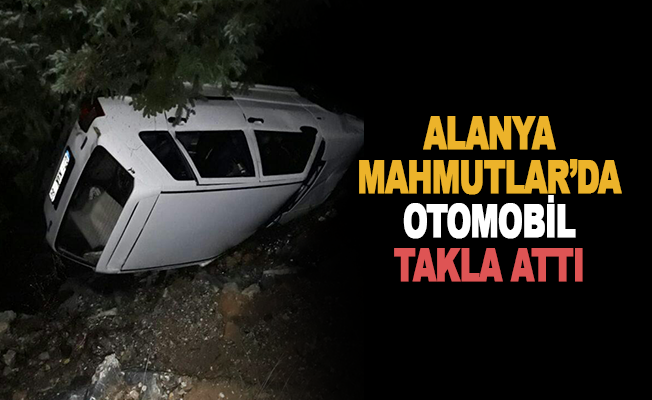 Mahmutlar'da otomobil takla attı