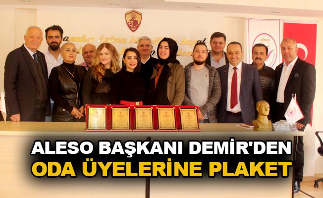 ALESO Başkanı Demir'den oda üyelerine plaket