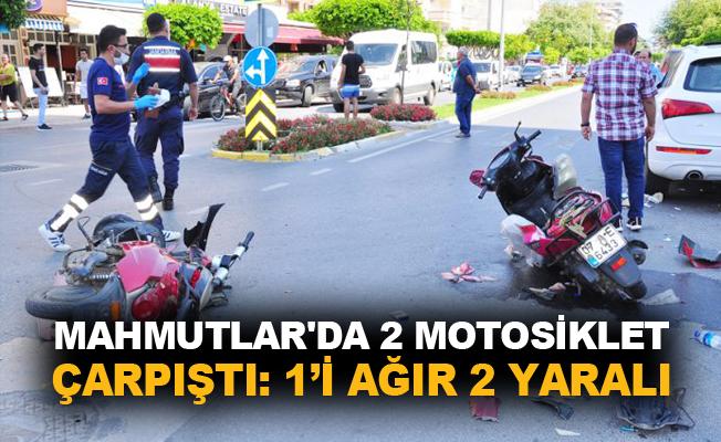 Mahmutlar'da 2 motosiklet çarpıştı: 1'i ağır 2 yaralı