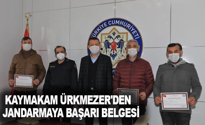 Kaymakam Ürkmezer'den Jandarmaya başarı belgesi