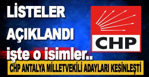 CHP Antalya Milletvekili Adayları Belli Oldu