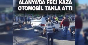 Alanya'da feci kaza! Otomobil takla attı