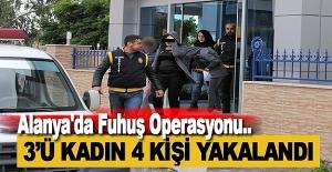 Alanya'da Fuhuş Operasyonu: 3'ü Kadın 4 Kişi Yakalandı
