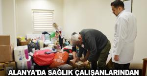 Alanya'da sağlık çalışanlarından Elazığ Yardım Tırı'na tam destek