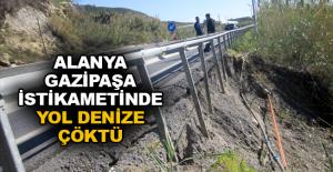 Alanya-Gazipaşa istikametinde yol denize çöktü