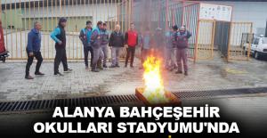 Alanya Bahçeşehir Okulları Stadyumu'nda yangın tatbikatı