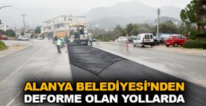 Alanya Belediyesi'nden deforme olan yollarda hızlı asfalt