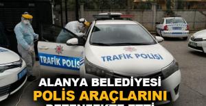 Alanya Belediyesi polis araçlarını dezenfekte etti