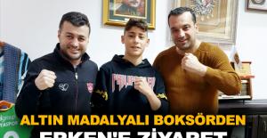 Altın madalyalı boksörden Erken'e ziyaret
